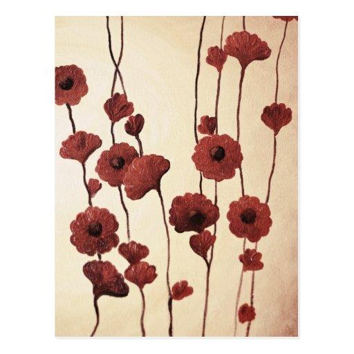 Fleurs rouges Pictural Carte Postale