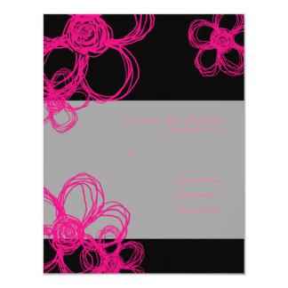 Fleurs sauvages de rose et de noir épousant RSVP Carton D'invitation 10,79 Cm X 13,97 Cm