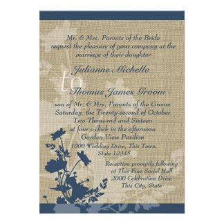 Fleurs sauvages et mariage de toile de jute bristols personnalisés