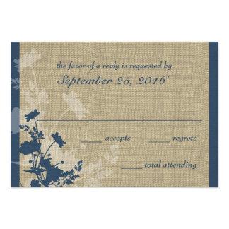 Fleurs sauvages et réponse de mariage de toile de invitations personnalisées