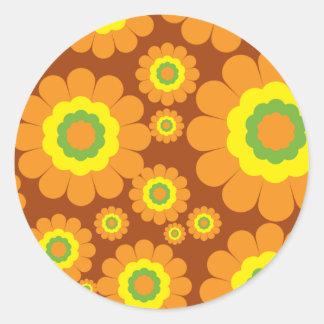Fleurs super des années 70 sticker rond