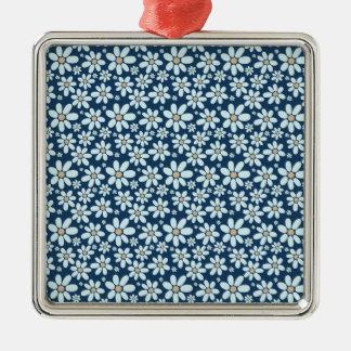 Fleurs sur bleu-foncé ornement carré argenté