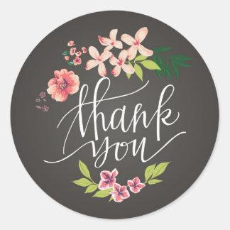 Fleurs sur l'autocollant de Merci de tableau Sticker Rond