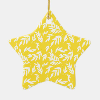 Fleurs sur le jaune de miel ornement étoile en céramique