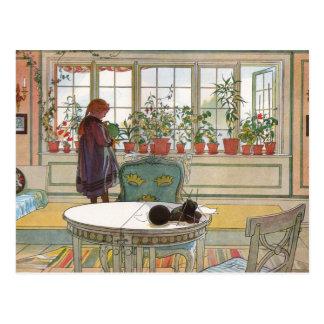 Fleurs sur le rebord de fenêtre par Carl Larsson Carte Postale