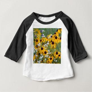 Fleurs susan observée par noir t-shirt pour bébé
