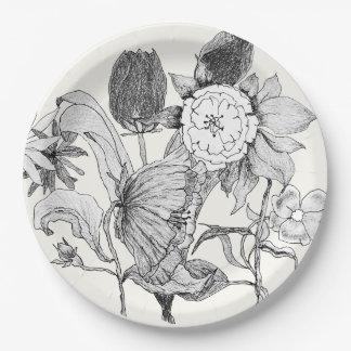 Fleurs tirées par la main artistiques de bouquet assiettes en papier