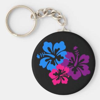 Fleurs tropicales de ketmie dans des couleurs lumi porte-clé rond