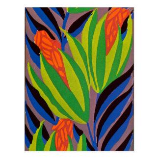 Fleurs tropicales de l'art déco de Seguy Carte Postale