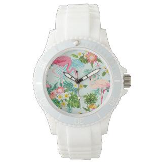 Fleurs tropicales vintages et oiseaux montres bracelet