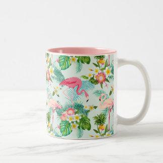 Fleurs tropicales vintages et oiseaux tasse 2 couleurs