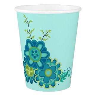 Fleurs turquoises douces et jolies gobelets en papier