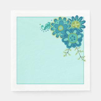 Fleurs turquoises douces et jolies serviette en papier