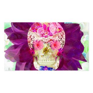 Fleurs turquoises roses mignonnes de crâne floral cartes de visite personnelles