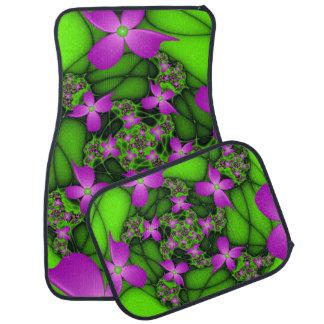 Fleurs vertes roses au néon abstraites modernes de tapis de voiture