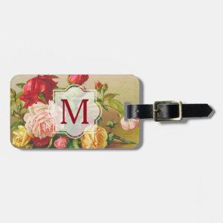 Fleurs victoriennes vintages de bouquet de roses étiquette à bagage