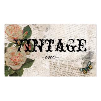 Fleurs vintages au-dessus de texte affligé carte de visite standard