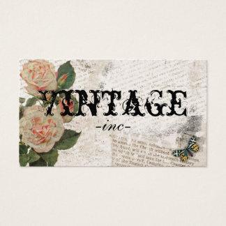 Fleurs vintages au-dessus de texte affligé cartes de visite