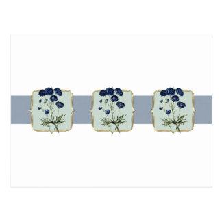 Fleurs vintages bleues au loin cartes postales