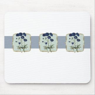 Fleurs vintages bleues au loin tapis de souris