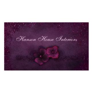 Fleurs vintages d étincelle d aubergine magenta modèles de cartes de visite