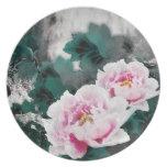 Fleurs vintages de nénuphar - art de peinture chin assiettes pour soirée