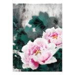 Fleurs vintages de nénuphar - art de peinture chin invitations personnalisables