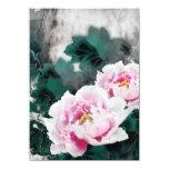 Fleurs vintages de nénuphar - art de peinture carton d'invitation  11,43 cm x 15,87 cm
