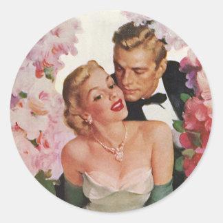 Fleurs vintages de nouveaux mariés de marié de jeu adhésif rond
