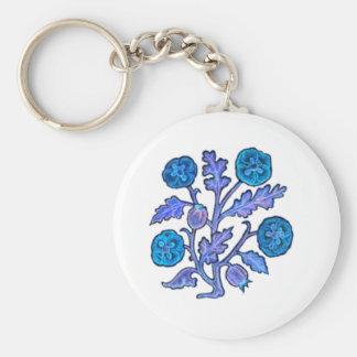 Fleurs vintages de style de broderie porte-clé rond