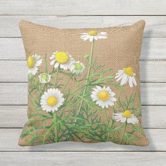 Fleurs vintages mignonnes de camomille sur la oreiller