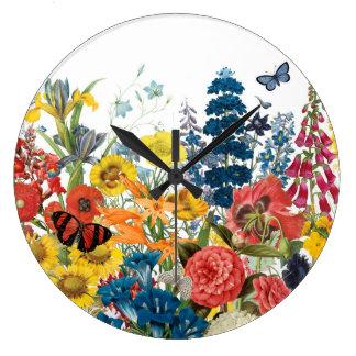 fleurs vintages modernes grande horloge ronde