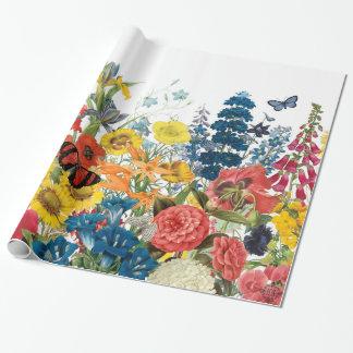 fleurs vintages modernes papier cadeau