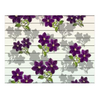 Fleurs vintages pourpres carte postale