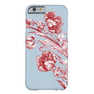 Fleurs vintages, rouge, blanc et bleu coque barely there iPhone 6