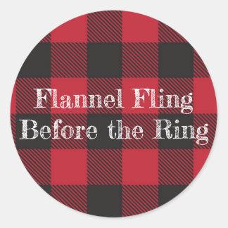 Fling de flanelle avant les autocollants d'anneau