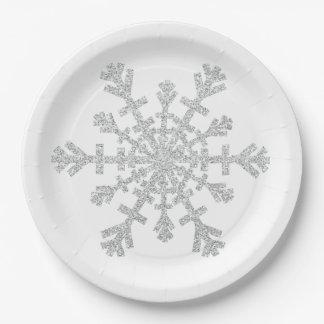 Flocon de neige argenté de Noël de scintillement Assiettes En Papier