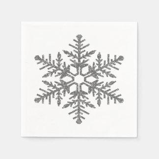 Flocon de neige argenté de scintillement de Faux Serviettes Jetables
