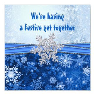 Flocon de neige argenté sur la fête de vacances carton d'invitation  13,33 cm