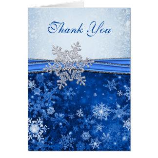 Flocon de neige argenté sur le Merci bleu de Cartes De Vœux