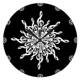 Flocon de neige blanc de G-Clef de noir d'HIVER de Grande Horloge Ronde