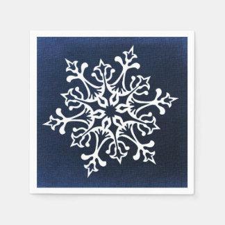 Flocon de neige blanc sur le bleu serviettes en papier