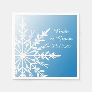 Flocon de neige blanc sur le mariage bleu d'hiver serviette jetable