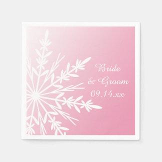 Flocon de neige blanc sur le mariage rose d'hiver serviettes jetables