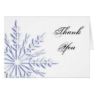 Flocon de neige bleu d'hiver sur le Merci blanc Cartes De Vœux