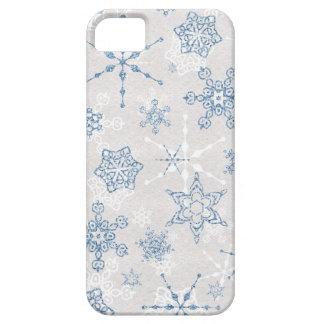 Flocon de neige bleu et argenté élégant d'hiver coque Case-Mate iPhone 5