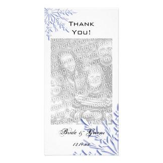 Flocon de neige bleu sur le Merci blanc de mariage Carte