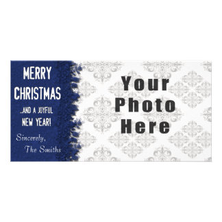 Flocon de neige de bleu de Joyeux Noël Modèle Pour Photocarte