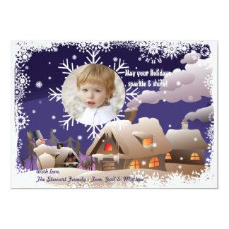 Flocon de neige de dérive - carte de vacances de carton d'invitation  12,7 cm x 17,78 cm