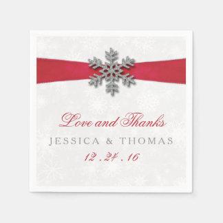 Flocon de neige de Diamante et mariage rouge Serviettes Jetables